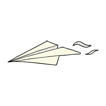 白い背景に隔離漫画紙飛行機  イラスト・ベクター素材