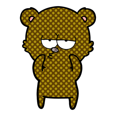 bored bear cartoon Ilustrace
