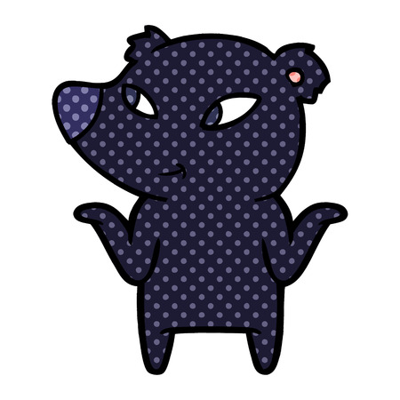 Cute cartoon bear shrugging shoulders isolated on white background Ilustração