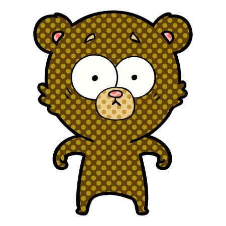 Surprised bear cartoon isolated on white background Stock Illustratie