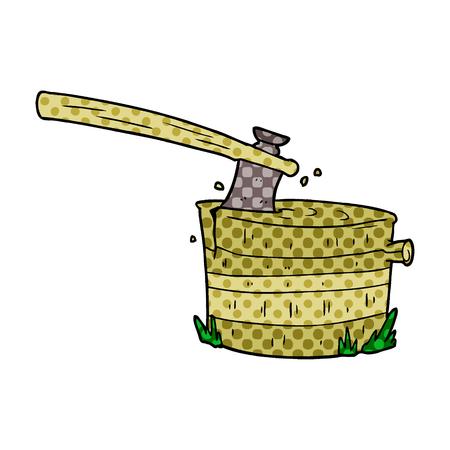 Cartoon Baumstumpf mit Axt Standard-Bild - 95559959