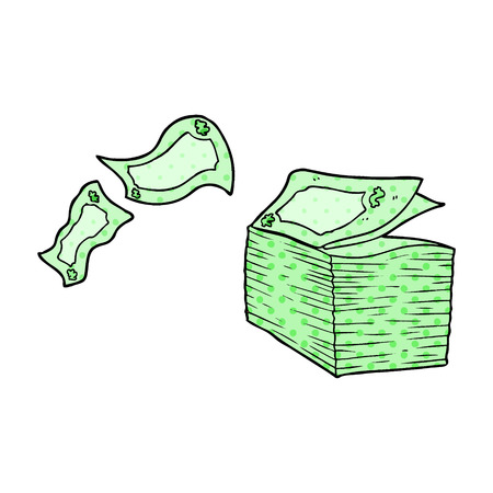 Cartoon money blowing away