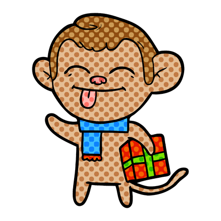 Funny cartoon monkey with Christmas present isolated on white background