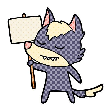 friendly cartoon wolf with blank sign Иллюстрация