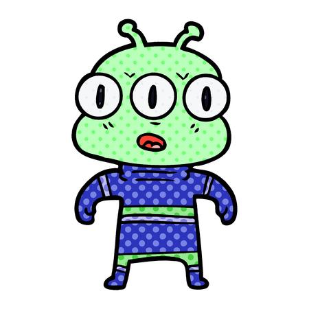 Cartoon three eyed alien Reklamní fotografie - 95644076
