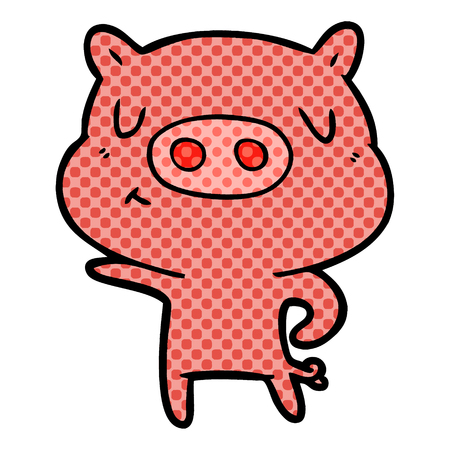 Cartoon pig pointing