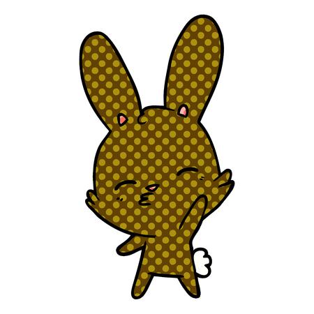 Curious waving bunny cartoon