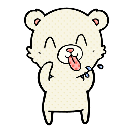 Rude cartoon polar bear sticking out tongue Çizim
