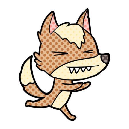 angry wolf running Illustration