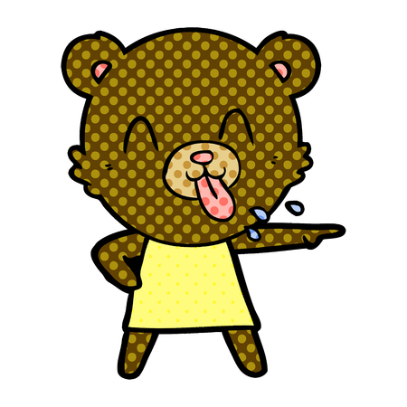 Rude cartoon bear pointing Illustration