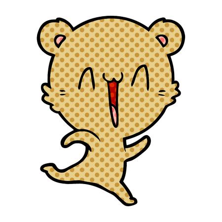 Happy bear running cartoon
