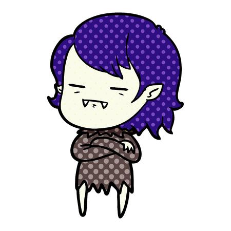 Cartoon undead vampire girl isolated on white background