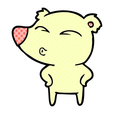 Cartoon whistling bear isolated on white background Illustration