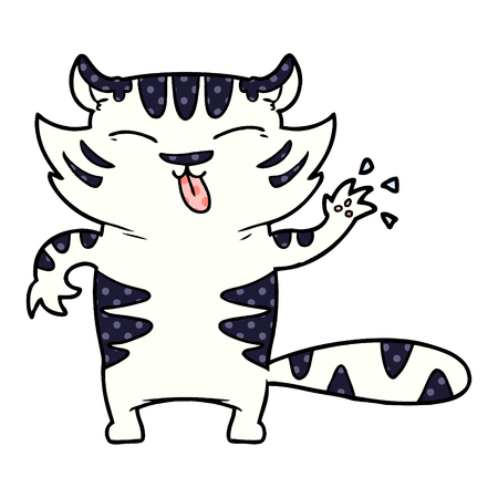 Cartoon white tiger isolated on white background  イラスト・ベクター素材