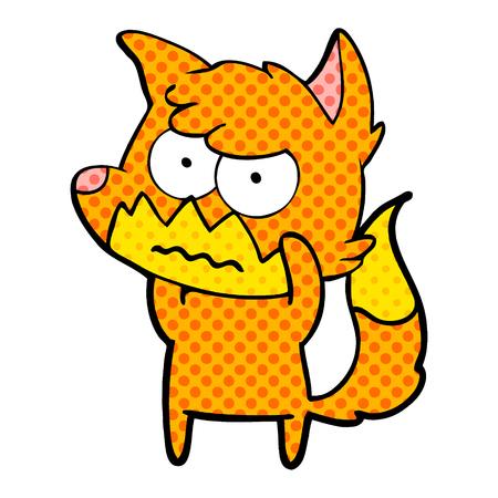 Cartoon annoyed fox isolated on white background