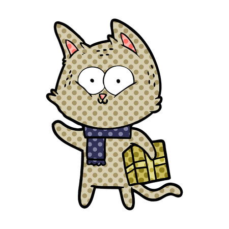 Cartoon cat holding christmas present Banque d'images - 95644420