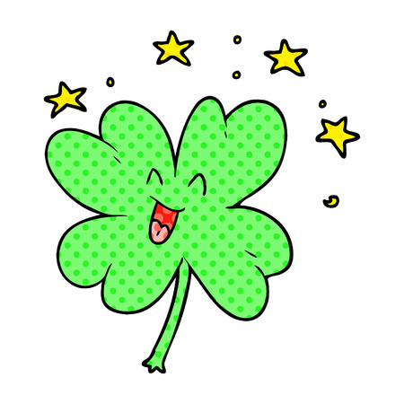 happy cartoon four leaf clover 向量圖像