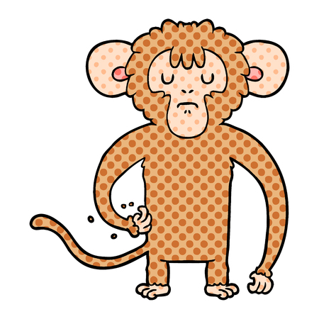 cartoon monkey scratching