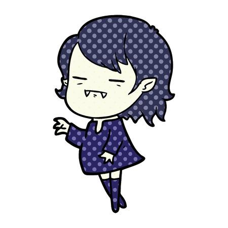 cartoon undead vampire girl reaching out Illustration