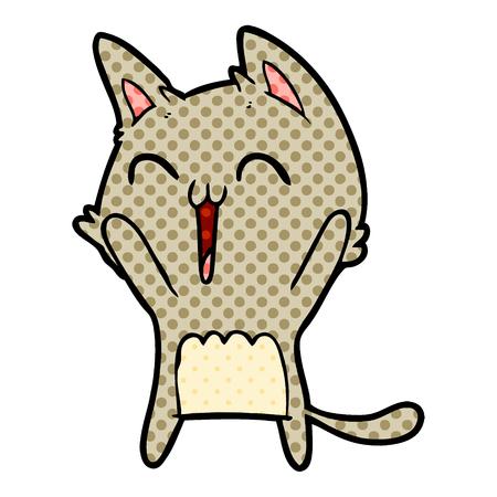 Happy cartoon cat meowing