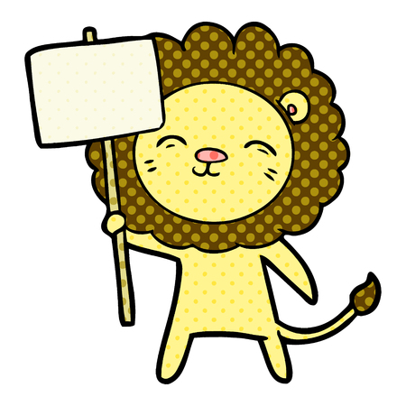 Cartoon lion with protest sign isolated on white background