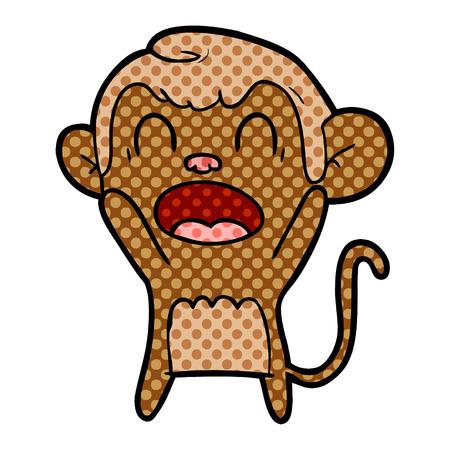 Shouting cartoon monkey isolated on white background