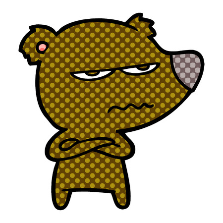 Angry bear cartoon isolated on white background