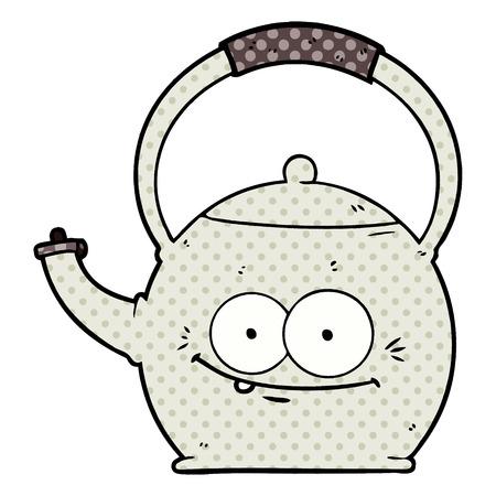 Cartoon kettle isolated on white background
