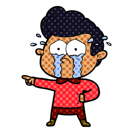 cartoon crying man Ilustracja