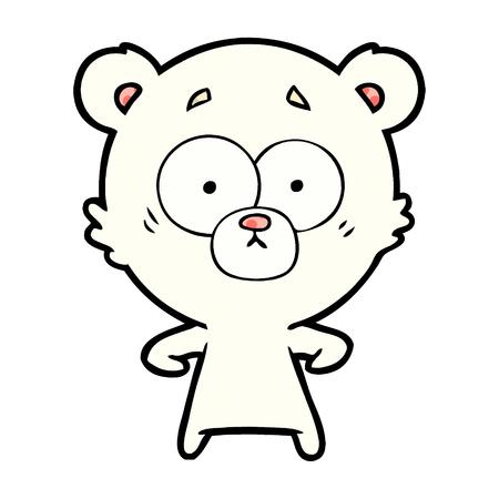 白い背景に隔離された驚いたホッキョクグマの漫画