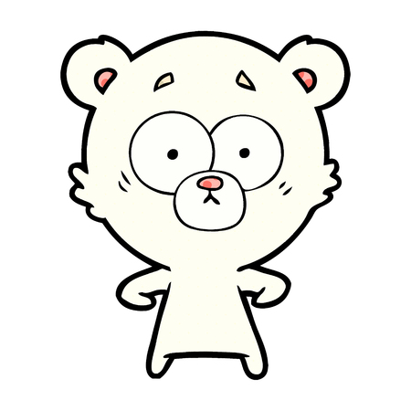 Surprised polar bear cartoon isolated on white background Illustration