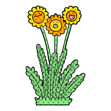 Cartoon happy flowers Banque d'images - 95644989
