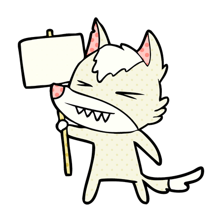 Angry wolf cartoon with placard Illustration