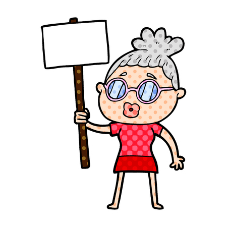 Cartoon protester woman wearing spectacles
