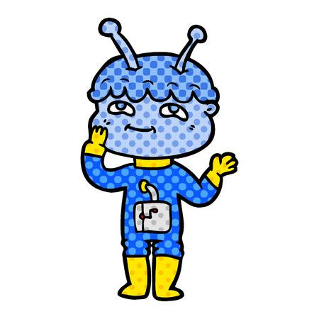 Surprised cartoon spaceman Illustration
