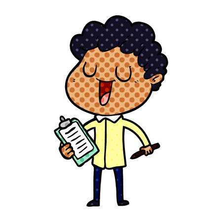 Laughing cartoon man with clipboard and pen
