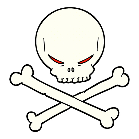Cartoon skull and crossbones isolated on white background Illusztráció