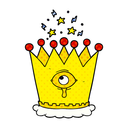 Cartoon magic crown isolated on white background Illustration