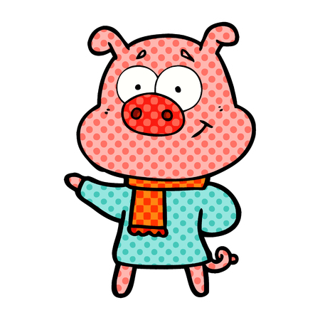 Happy cartoon pig wearing warm clothes isolated on white background