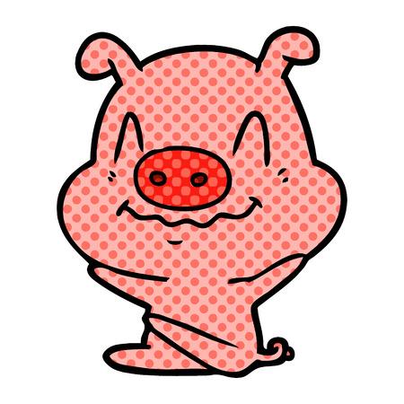 白い背景に孤立した神経質な漫画の豚  イラスト・ベクター素材
