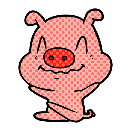 Nervous cartoon pig sitting isolated on white background Ilustração