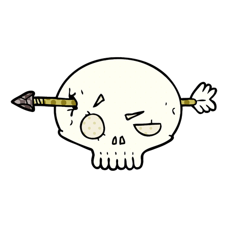 Cartoon skull shot through by arrow isolated on white background