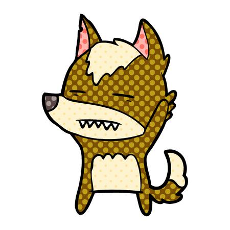 Cartoon wolf waving showing teeth