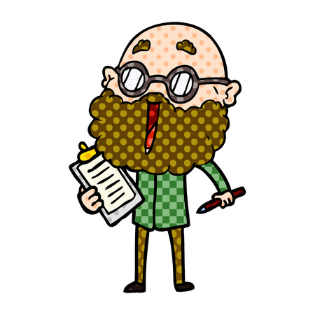 Cartoon joyful man with beard Иллюстрация