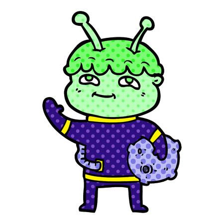 Friendly cartoon spaceman waving