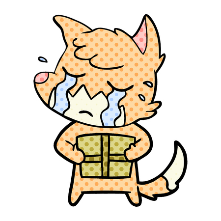 Crying fox cartoon with parcel Illustration