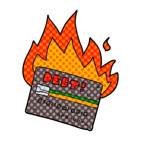 Burning credit card cartoon isolated on white background Illustration