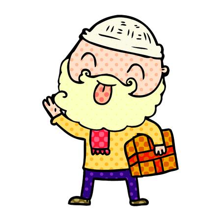 Man with beard carrying christmas present