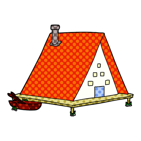 Cartoon lake house isolated on white background Ilustração