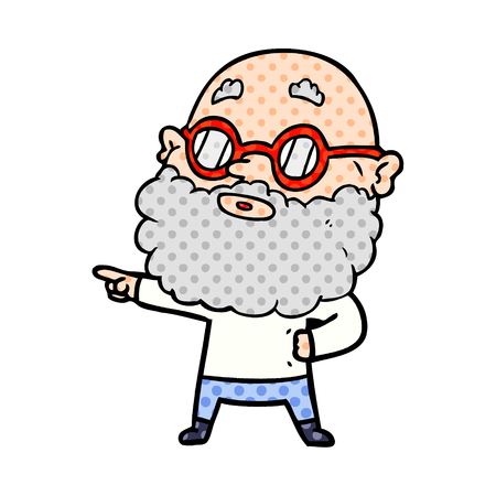 Cartoon curious man with beard and glasses Stock fotó - 95658032